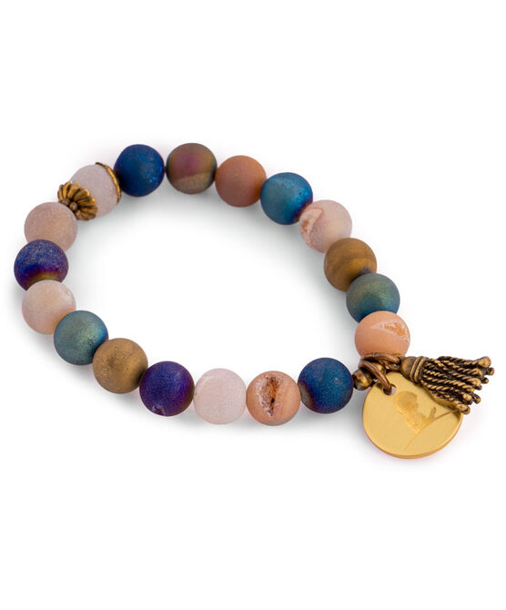 Druzy Bead Multicolored Gold Bracelet