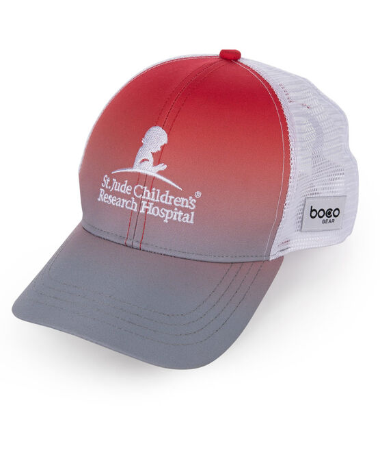 Ombre Red and Grey Trucker Hat