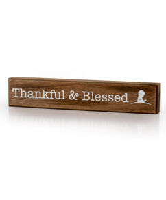 Thankful & Blessed Slim Wooden Sign