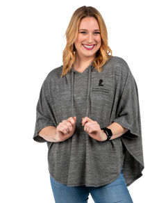 Women's Grey Hooded Fleece Poncho