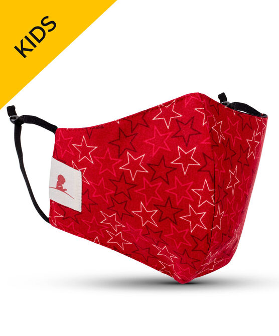 Kids Red Stars 2-ply Cotton Mask with Adjustable Straps