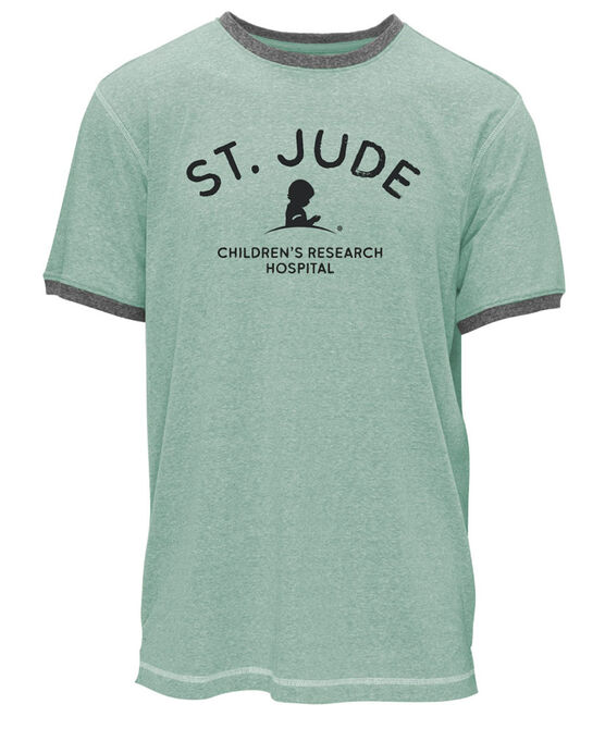 Green and Grey Distressed Ringer T-Shirt