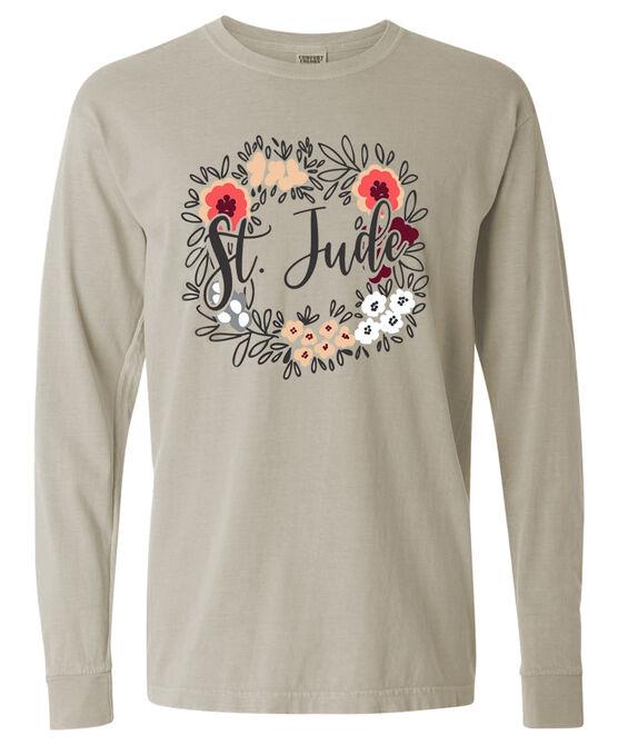 Tan Floral Long Sleeve T-shirt