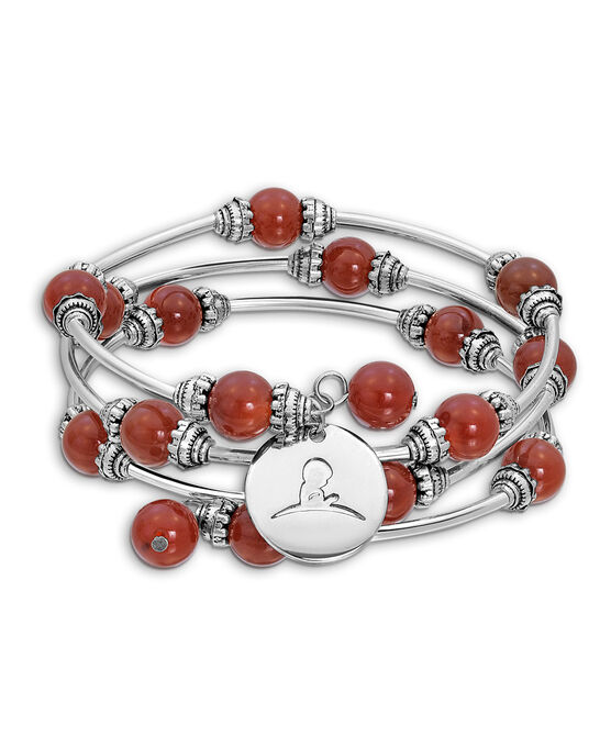 Red Agate Beaded Wrap Bracelet