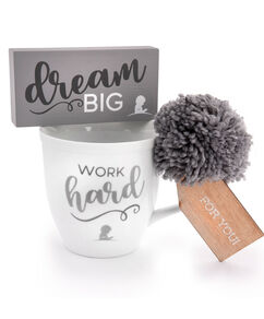 Work Hard Ceramic Mug & Dream Big Box Sign Gift Set