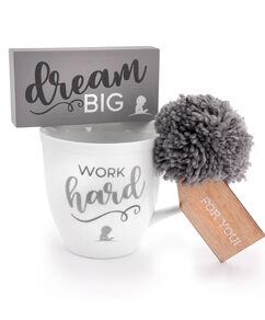 Work Hard Ceramic Mug & Dream Big Box Sign Gift Set