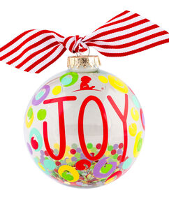 Clear Glass Joy Confetti 4″ Ornament