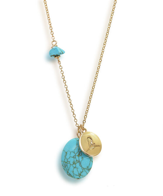Gold Turquoise Stone Necklace