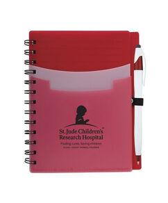 Tri Pocket Desk Notebook With Pen - Red