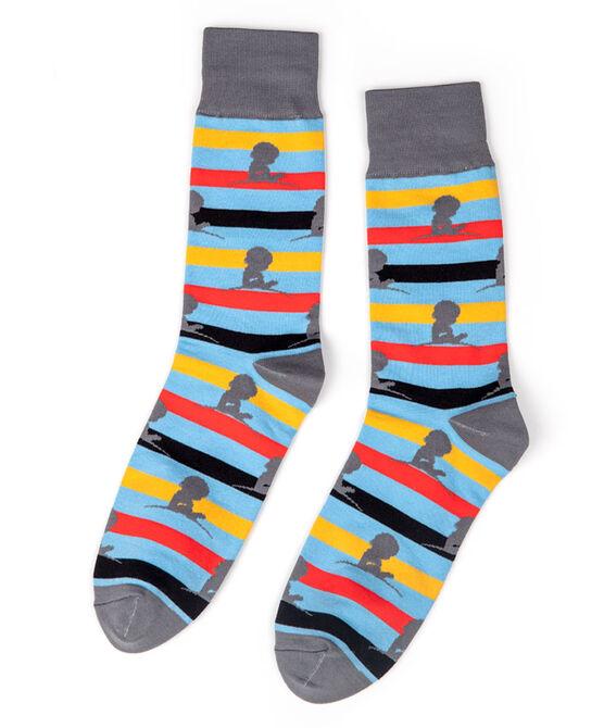 Grey, Gold & Red Stripe Socks