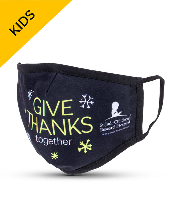 Give Thanks Together Black KIDS Face Mask with Filter Pocket