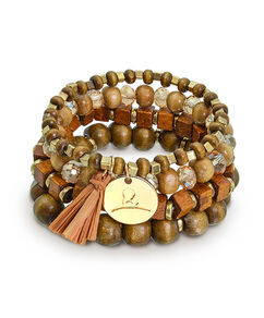 Wooden Multi Bead Stretch Bracelet