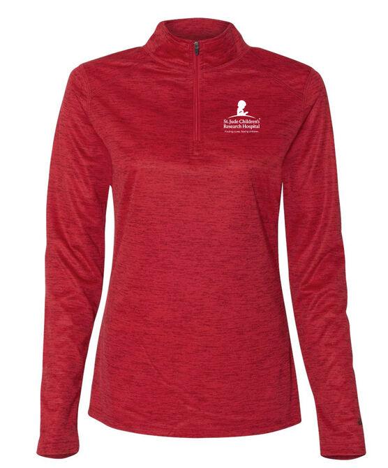 Ladies Quarter Zip Performance Pullover - Red