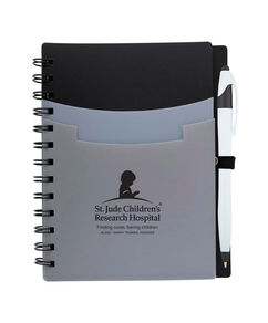 Tri Pocket Desk Notebook With Pen - Black