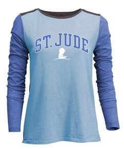 Ladies Blue Color Block Long Sleeve Shirt