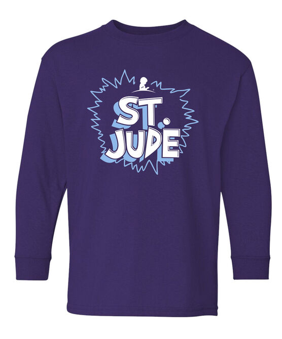 Youth St. Jude Cartoon-Style Purple Long-Sleeve T-Shirt