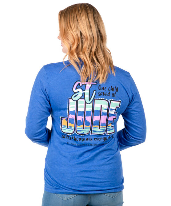 Unisex Blue St. Jude Skyline Back Design T-shirt