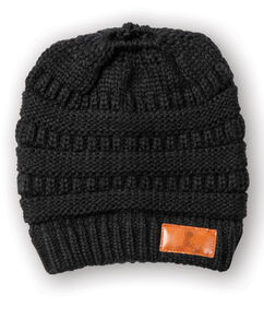 Ponytail Knit Black Beanie