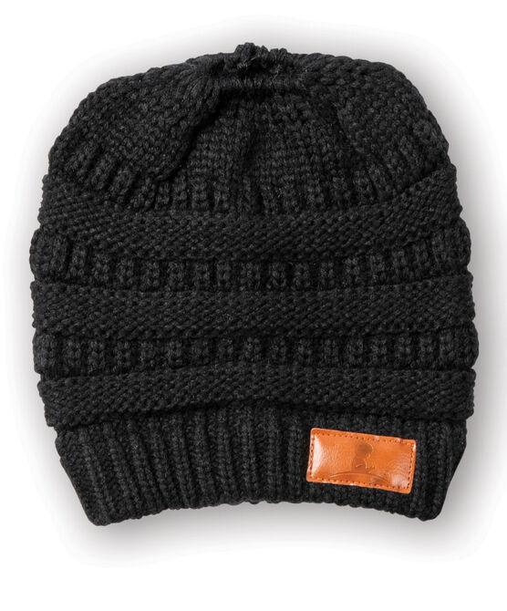 Ponytail Knit Black Beanie