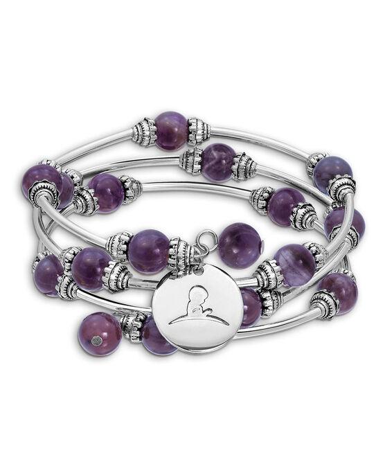 Lavender Agate Beaded Wrap Bracelet