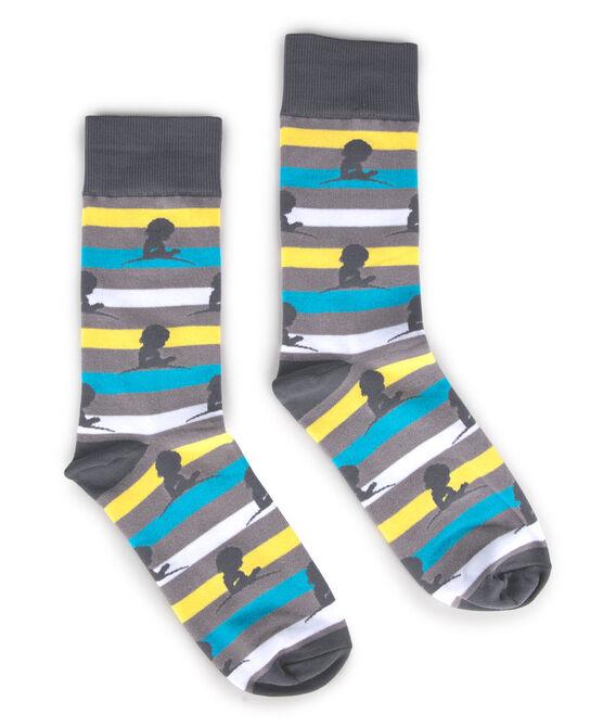 Blue Yellow White and Grey Striped Dress Socks