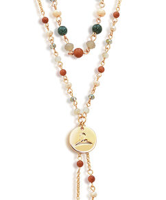 Gold Multi-Chain Beaded Necklace