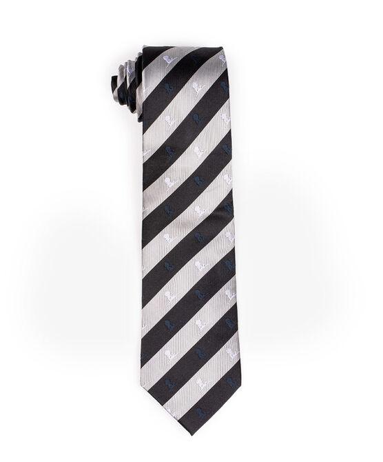 Regimental Black and Silver Silk Necktie