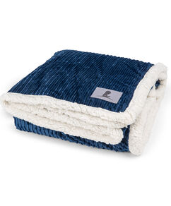 Corduroy Sherpa Navy Throw Blanket