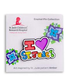 Patient Art I Heart St. Jude Enamel Pin - Amber