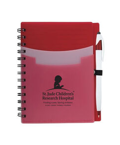 Tri Pocket Desk Notebook With Pen - Red
