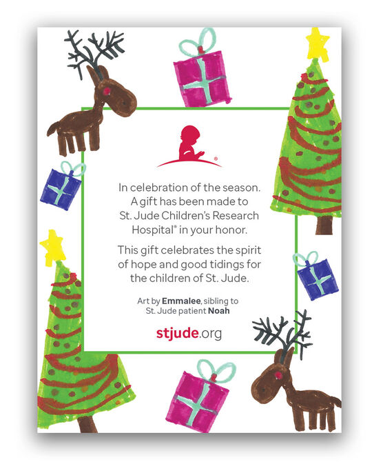 Tree & Reindeer Patient Art Honor Inserts - Set of 5