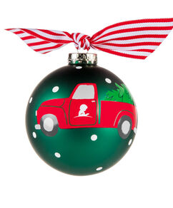 "Red Truck & Tree Patient Art Inspired 4"" Glass Ornament"