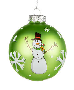 "2020 Snowman 3"" Glass Ornament"