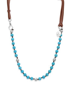 Turquoise & Leather Bead Necklace