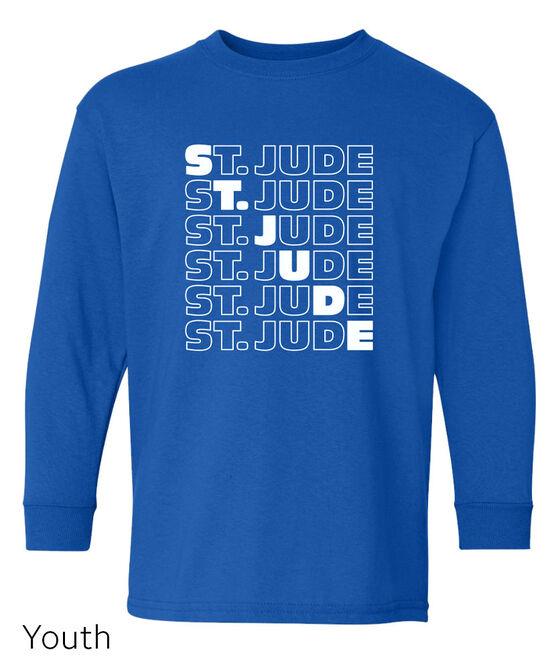 Kids St. Jude Diagonal Repeat Long Sleeve T-shirt