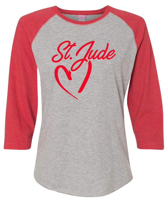 Women's Grey Heart Script Raglan T-Shirt