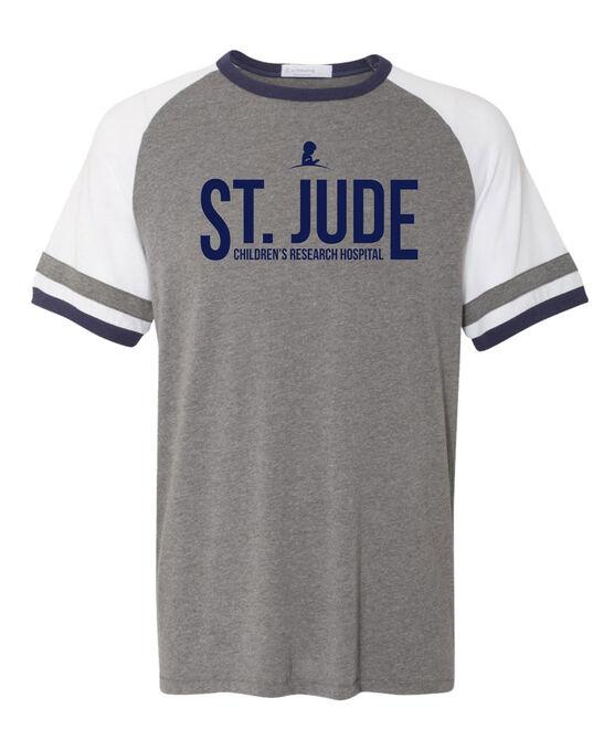 Colorblock Raglan Striped Sleeve Grey T Shirt