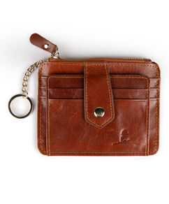 Brown Leather Card Wallet with Key Ring