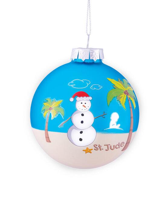 2021 Snowman at the Beach 3 Inch Glass Ornament