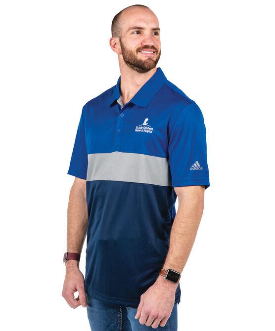 Men's Blue Adidas Colorblock Golf Shirt