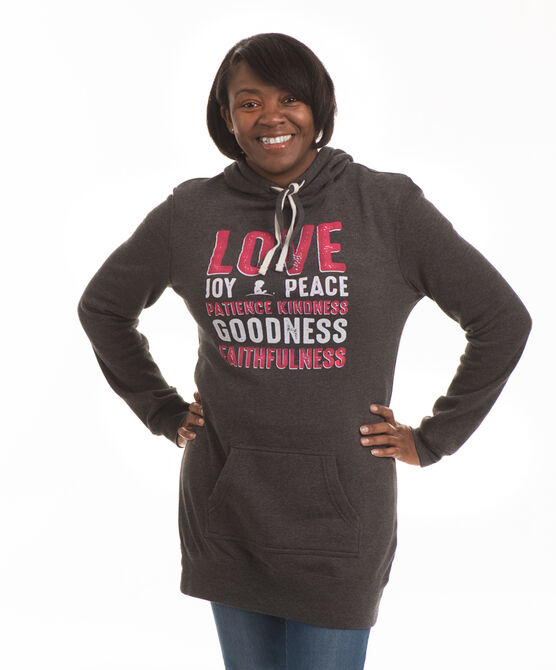 Ladies' Inspirational Words Hooded Tunic