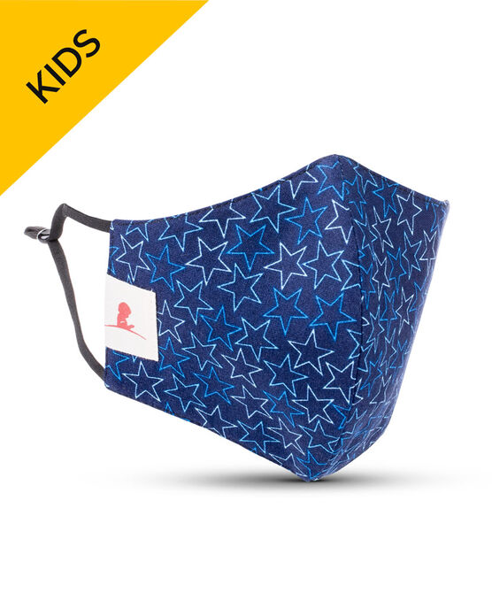KIDS Blue Stars 2-ply Cotton Mask with Adjustable Straps