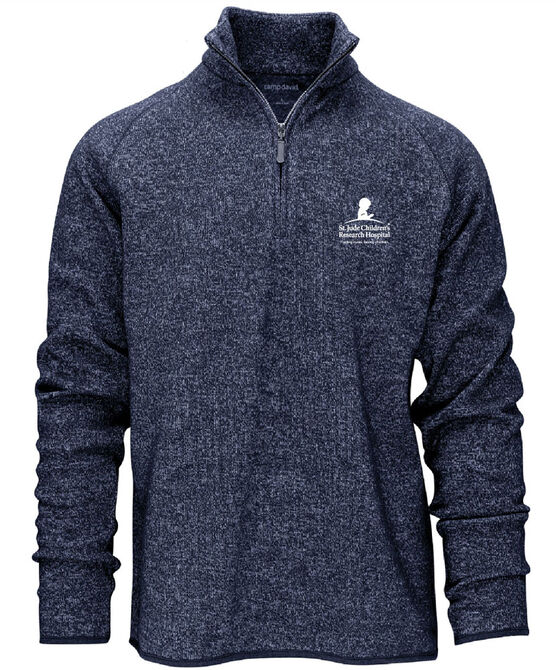Navy Heathered Quarter Zip Pullover