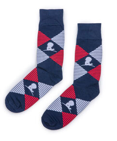 Navy and Red Argyle Socks