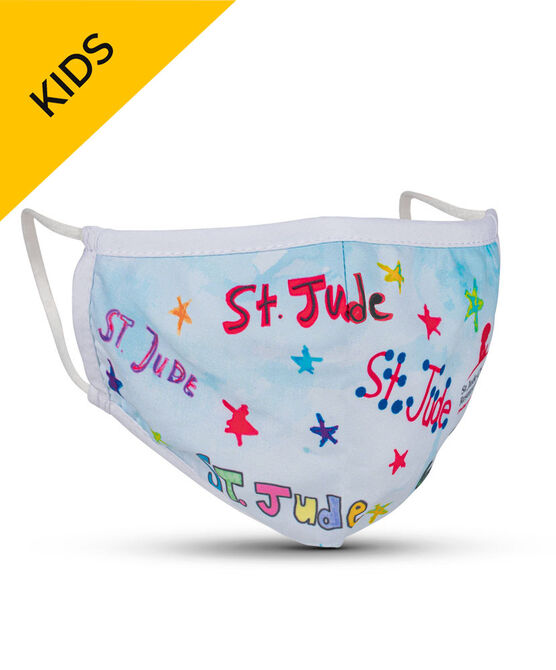 Patient-Art St. Jude Repeat and Stars KIDS 2-ply Face Mask with Filter Pocket