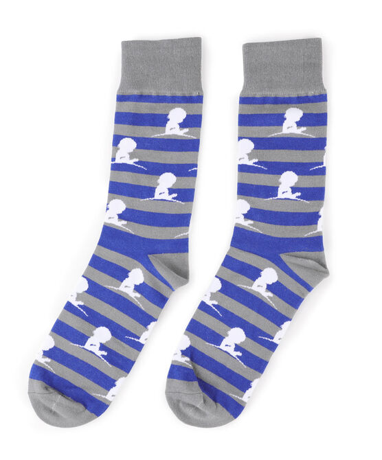 Blue and Grey Striped Socks