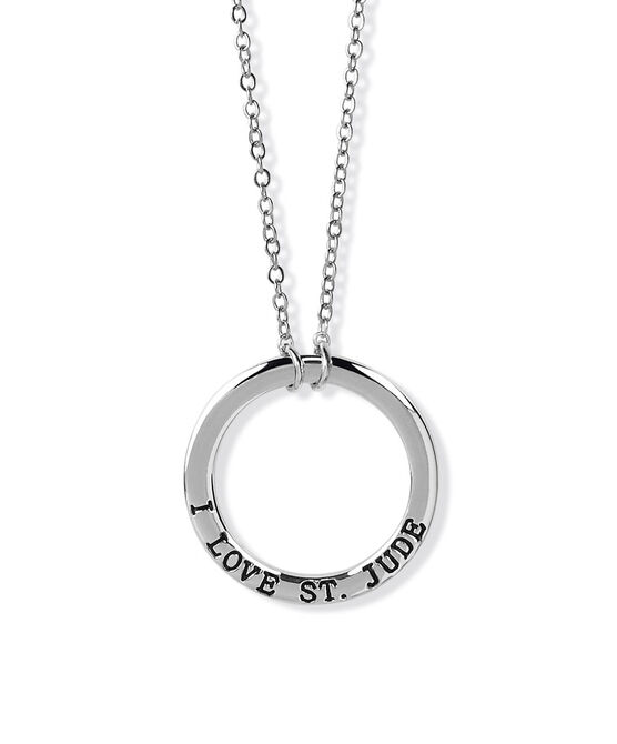 I Love St. Jude Ring Charm Silver Necklace