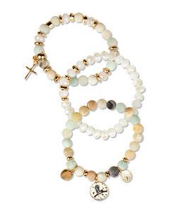 Triple Strand Bead Stretch Gold Bracelet
