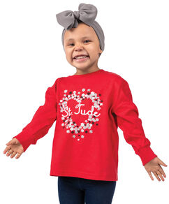 Toddler Floral Heart Long Sleeve Red T-Shirt
