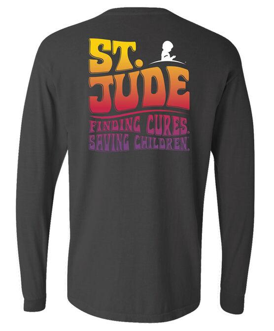 Unisex St. Jude Retro Font Back Design Long-Sleeve Shirt